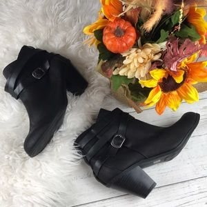 Fall Winter Black Strappy Leather Heel Booties 8.5